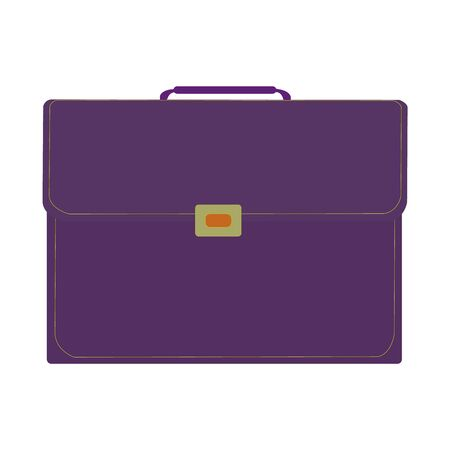 A purple business suitcase on a white backdrop Ilustrace