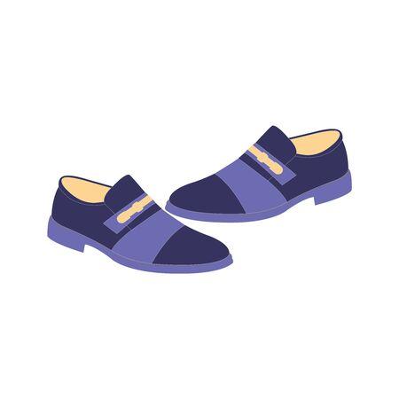 A dark blue pair of mens dress shoes