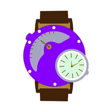A Dark Brown Wrist Watch on White