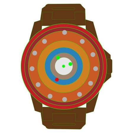 Sci-Fi Wrist Watch on White Illusztráció