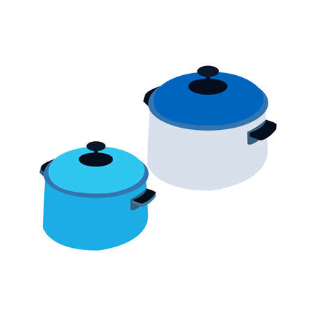 Two Beautifully Drawn Blue Silver Pots Stock Illustratie