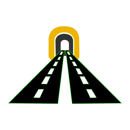 Highway road tunnel vector on white backdrop Stock Illustratie