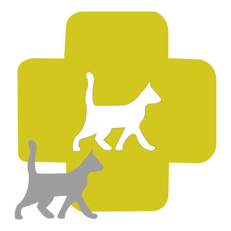 Cat Health Vector Icon on a White Backdrop Illustration