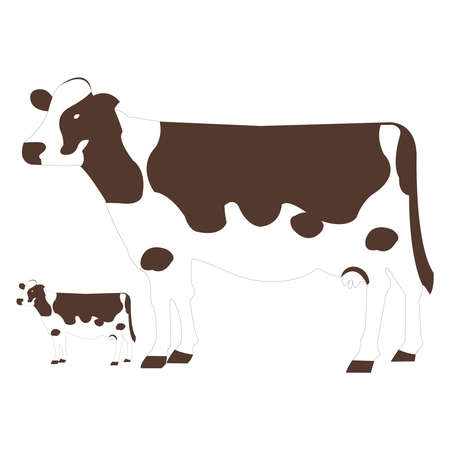 Dark Brown Cow and Calf on White Backdrop Illustration