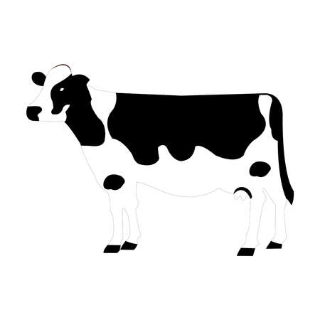 Back Cow Vector Illustration Isolated on White