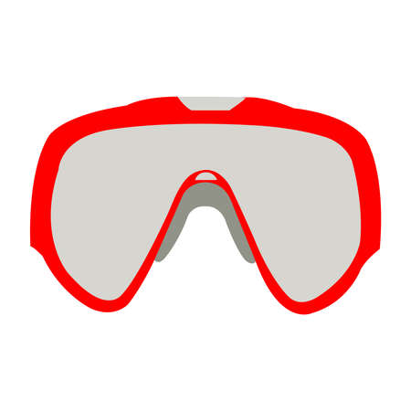 Red and Silver Skii Goggles on White Backdrop