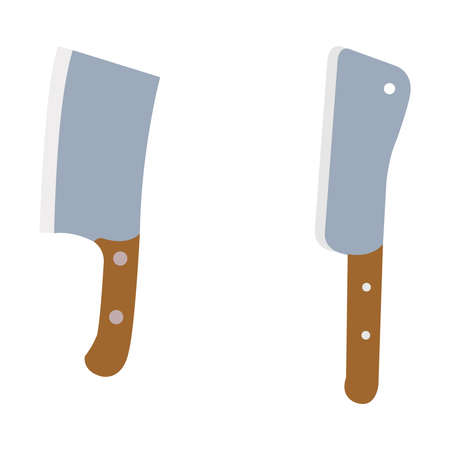 Butchers knives on a clean white backdrop