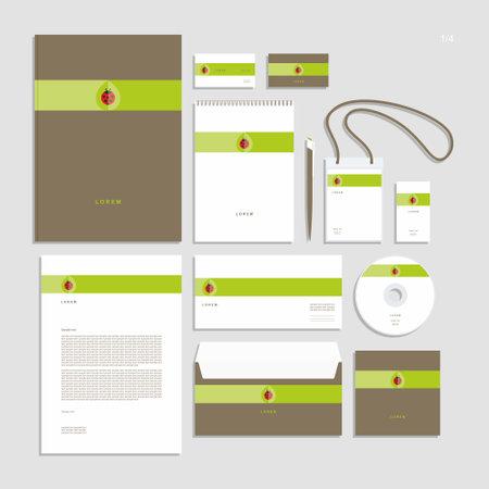 Abstract corporate identity with sign. Stationery set. Creative design. Vektoros illusztráció