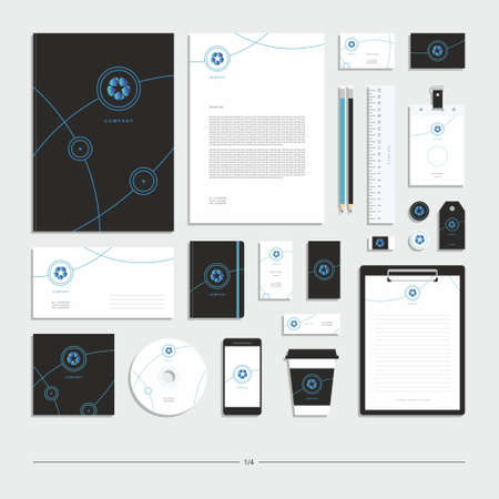 Abstract geometric technological corporate identity. Stationery set. Creative design.