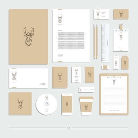 Abstract corporate identity with deer sign. Stationery set. Creative design. Vecteurs