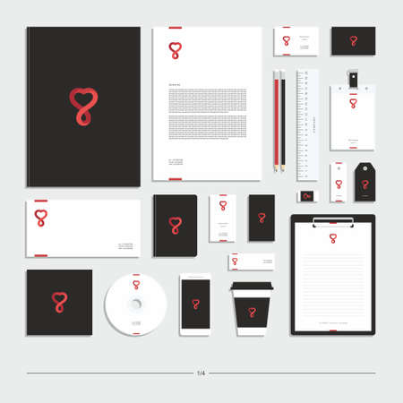Abstract corporate identity with heart sign. Stationery set. Creative design.