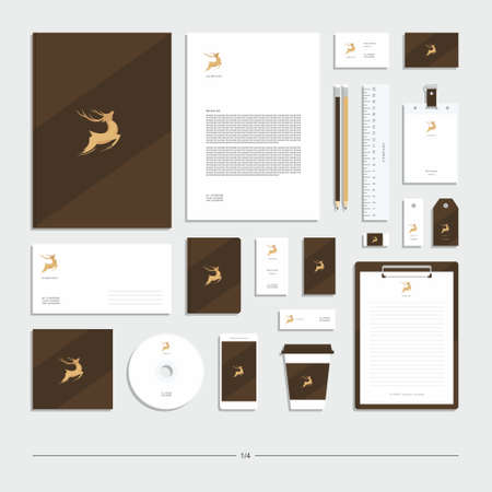 Abstract corporate identity with deer sign. Stationery set. Creative design. Vettoriali