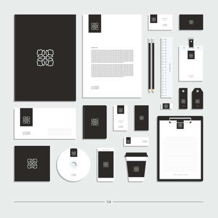 Abstract corporate identity with owl sign. Stationery set. Creative design. Ilustración de vector