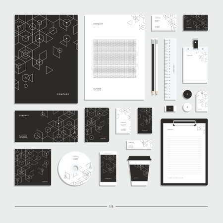 Abstract geometric technological corporate identity. Stationery set. Creative design. Векторная Иллюстрация