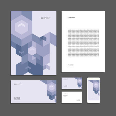 Abstract geometric technological corporate identity. Stationery set. Creative design. Vettoriali