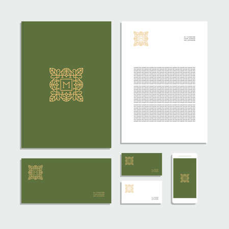 Abstract geometric corporate identity with sign. Stationery set. Creative design.