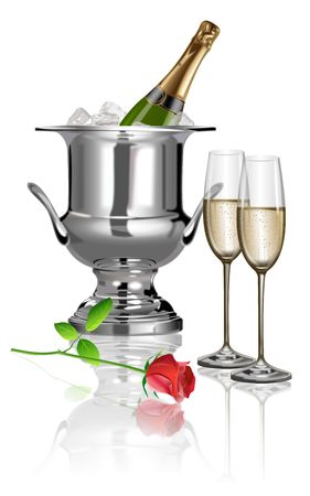 champagne, glasses,rose photo