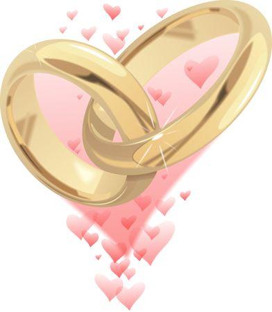 golden wedding rings isolated on white