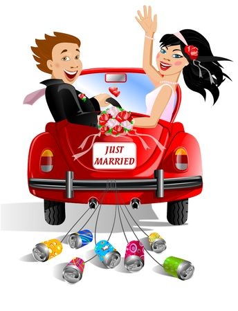 just married couple in wedding decorated car