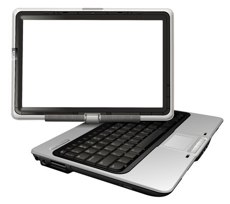 com: realistic illustration of laptop with empty screen isolated on white Stock Photo