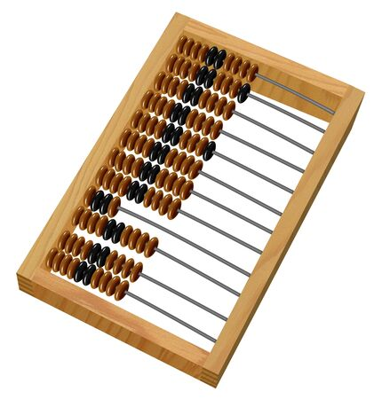 wooden abacus isolated on white Stock Photo