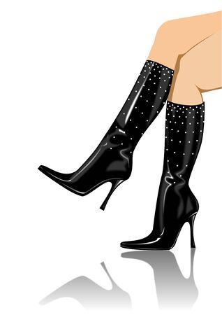 sexy black boots Stock Photo