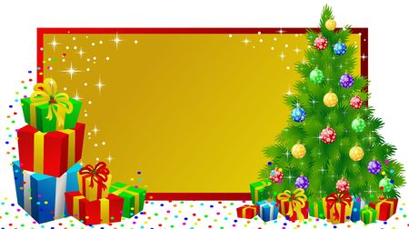 christmas label with gifts and tree Stock Photo - 2118555