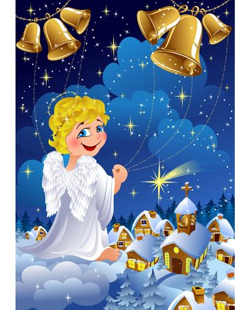 christmas night scene with angel playing bells above small village