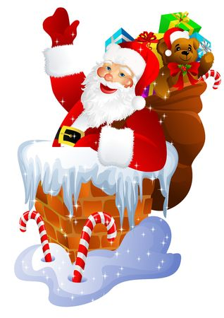 Santa Claus in chimney isolated on white