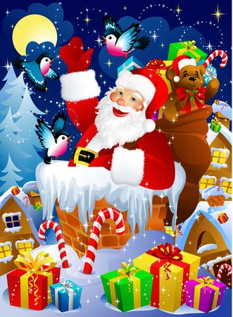Santa Claus in chimney Stock Photo - 2118581