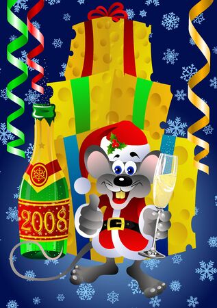 Christmas and New Year card with rat holding champagne glass