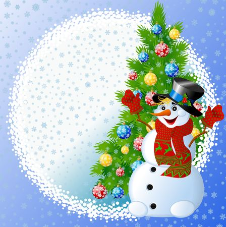 Snowman with christmas tree Stock Photo