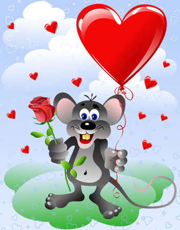 Mouse with heart shaped balloon and red rose Stock Photo