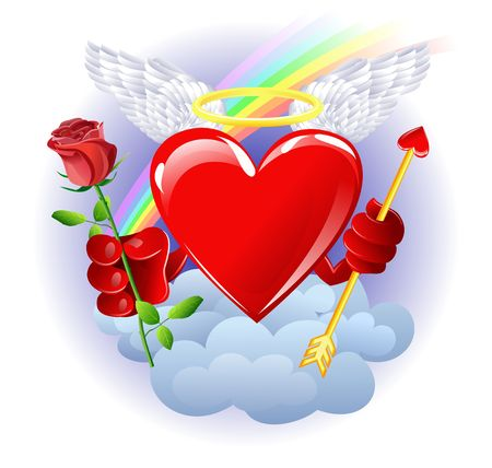Heart from heaven with rose Stock Photo - 2266020