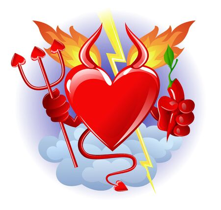 Heart from hell with chili pepper