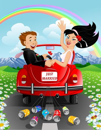 matrimony: just married couple Stock Photo