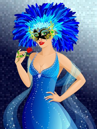 Beautiful girl in venetian mask Stock Photo