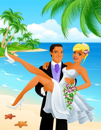 Just married couple on beach Stock Photo