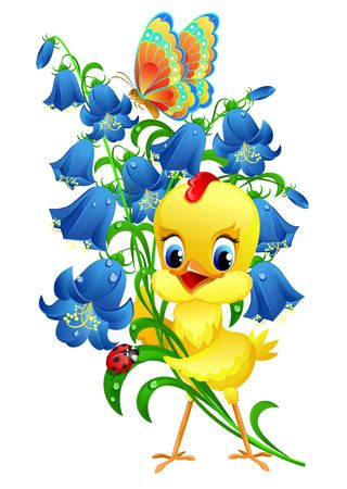 Cute chick with flowers photo