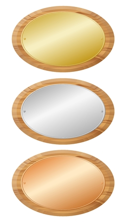 Woodenboards with metal plates Stock Vector - 2586727