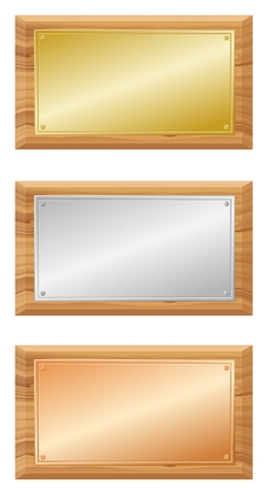 gold silver bronze: Wooden boards with metal plates