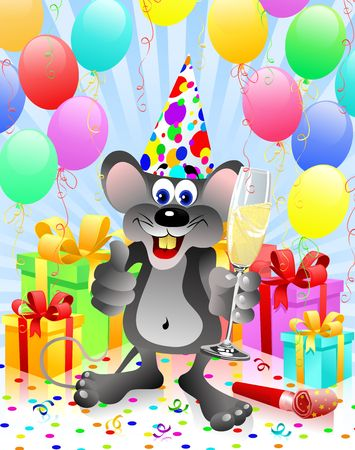 Party rat with champagne glass Stock Photo - 2703281