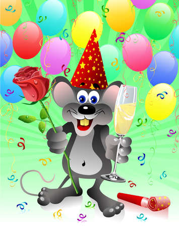 Party rat with red rose and champagne glass