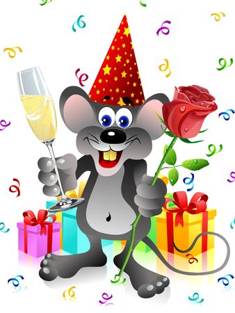 Party rat with red rose and champagne glass Stock Photo - 2703279