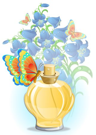 Perfume bottle with butterfly and blue flowers