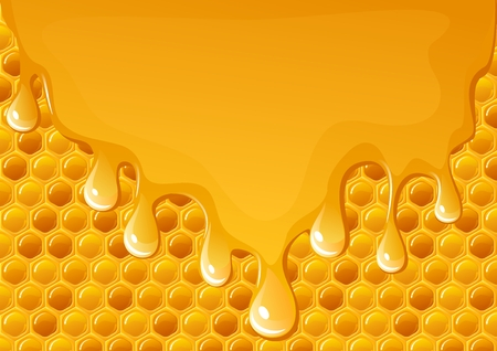 Honey flowing on honeycomb background