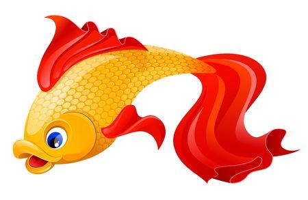 Golden fish isolated on white Stock Photo - 3474543