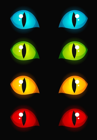 Cat eyes glowing in dark Illustration