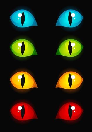 Cat eyes glowing in dark Stock Vector - 3632000