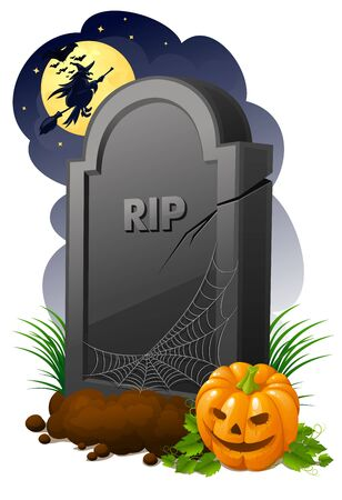 Gravestone with pumpkin and witch